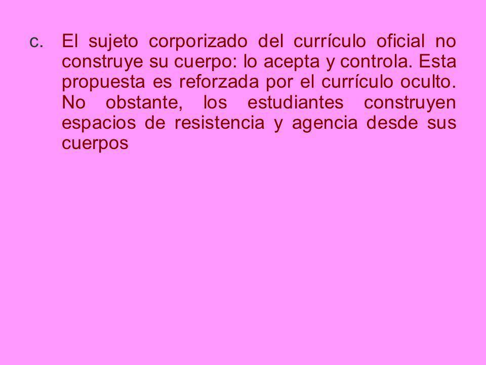 El sujeto corporizado del currículo oficial no construye su cuerpo: lo acepta y controla.