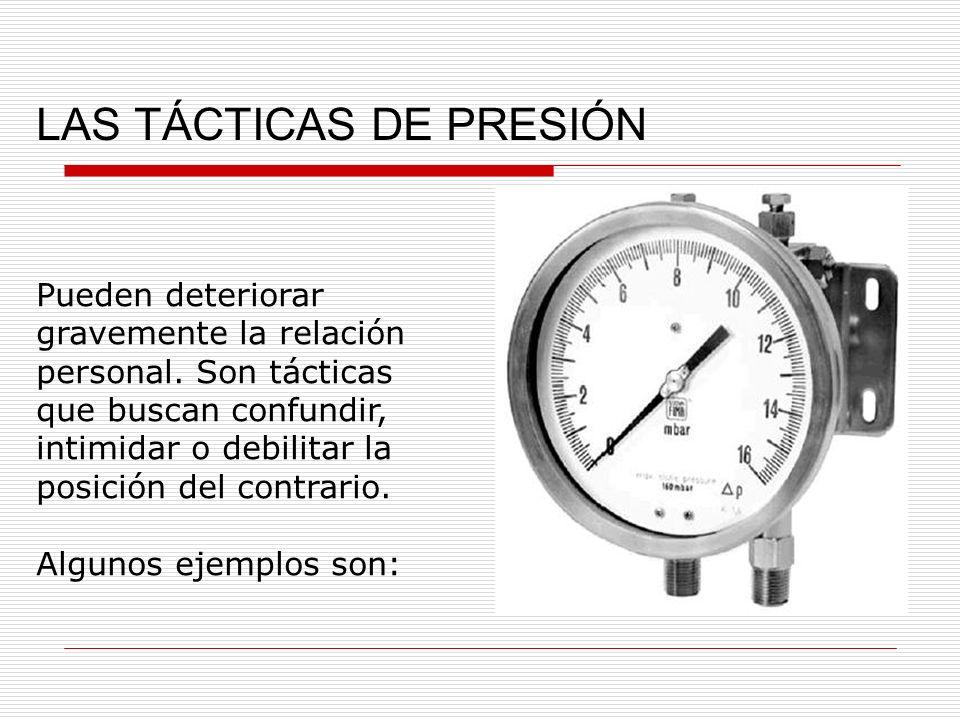 LAS TÁCTICAS DE PRESIÓN
