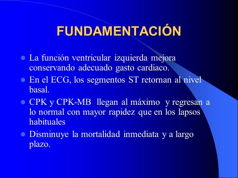 FUNDAMENTACIÓN La función ventricular izquierda mejora conservando adecuado gasto cardiaco. En el ECG, los segmentos ST retornan al nivel basal.