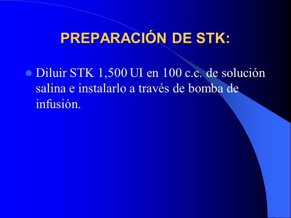 PREPARACIÓN DE STK: Diluir STK 1,500 UI en 100 c.c.