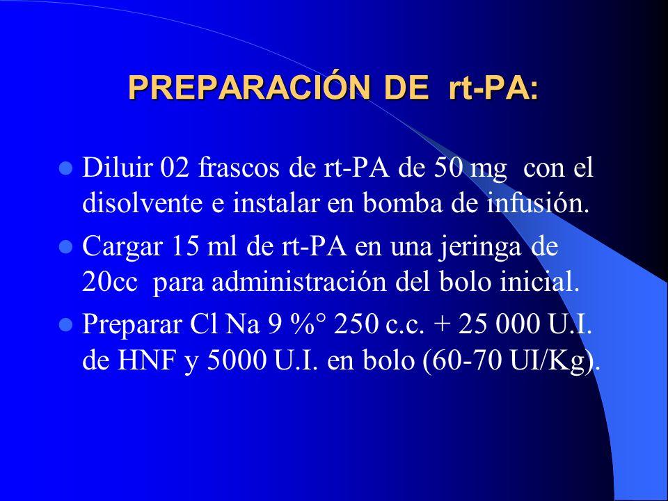 PREPARACIÓN DE rt-PA: Diluir 02 frascos de rt-PA de 50 mg con el disolvente e instalar en bomba de infusión.