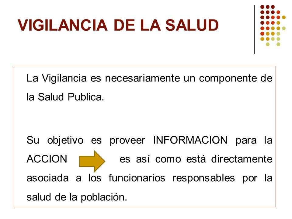 VIGILANCIA DE LA SALUD La Vigilancia es necesariamente un componente de la Salud Publica.