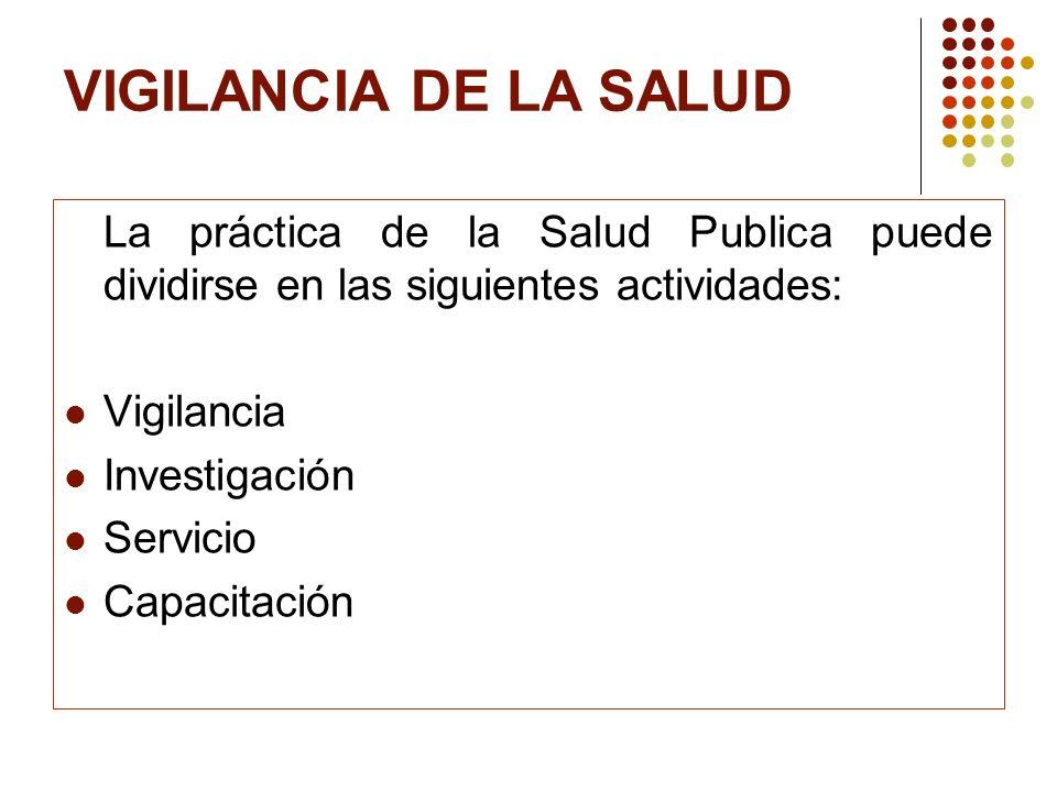 VIGILANCIA DE LA SALUD La práctica de la Salud Publica puede dividirse en las siguientes actividades:
