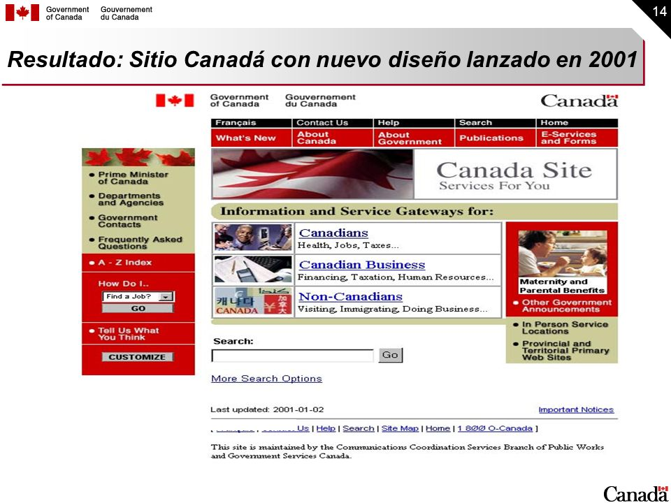 Resultado: Sitio Canadá con nuevo diseño lanzado en 2001