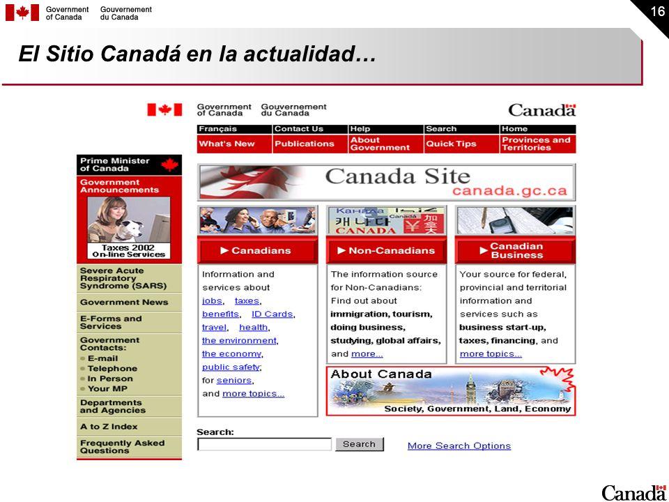 El Sitio Canadá en la actualidad…