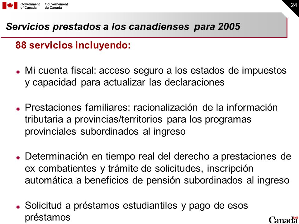 Servicios prestados a los canadienses para 2005