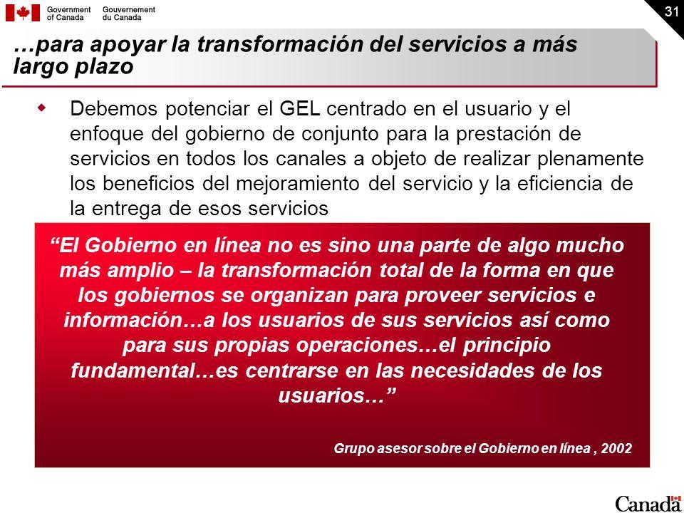 …para apoyar la transformación del servicios a más largo plazo