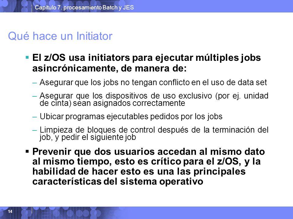Qué hace un Initiator El z/OS usa initiators para ejecutar múltiples jobs asincrónicamente, de manera de: