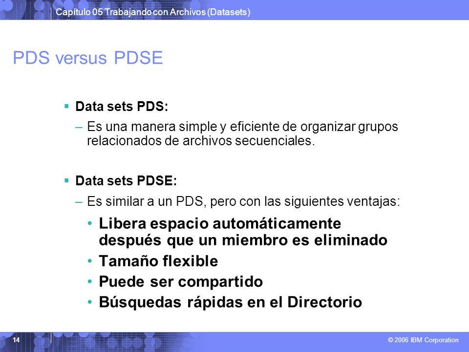PDS versus PDSE Data sets PDS: Es una manera simple y eficiente de organizar grupos relacionados de archivos secuenciales.