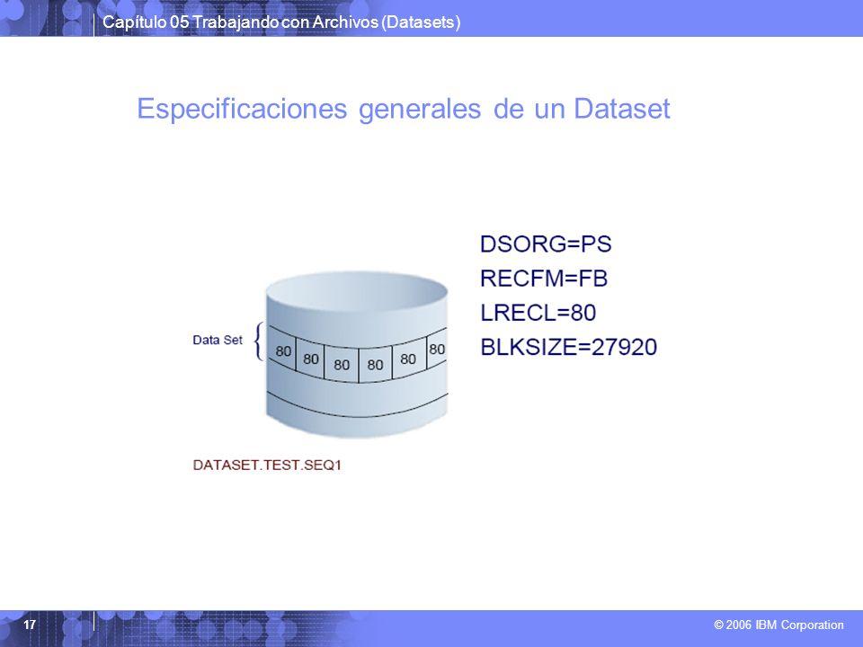 Especificaciones generales de un Dataset