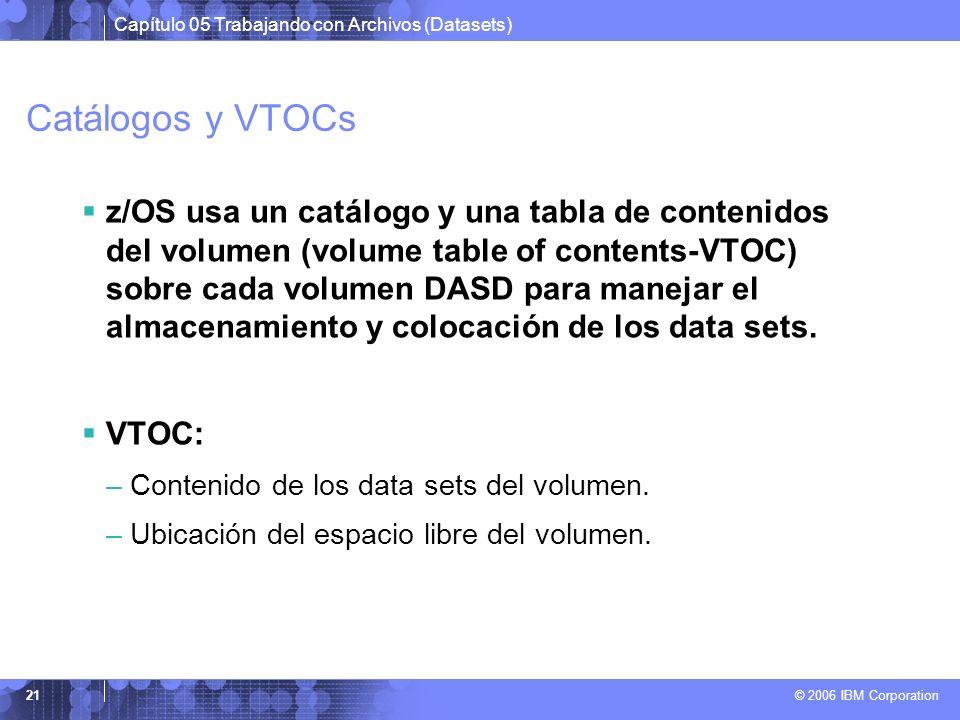 Catálogos y VTOCs