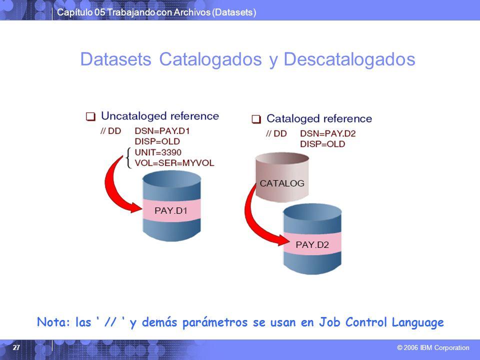 Datasets Catalogados y Descatalogados