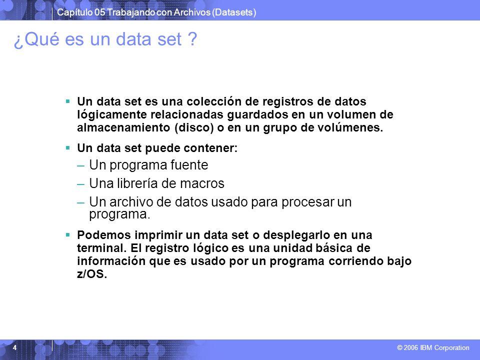 ¿Qué es un data set Un programa fuente Una librería de macros