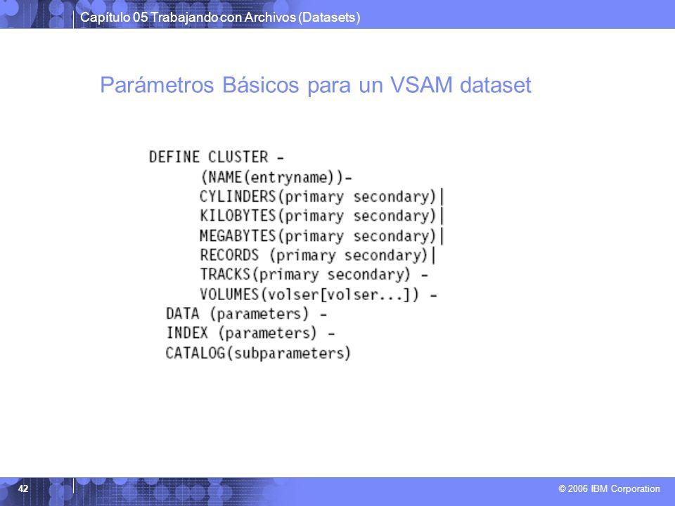Parámetros Básicos para un VSAM dataset