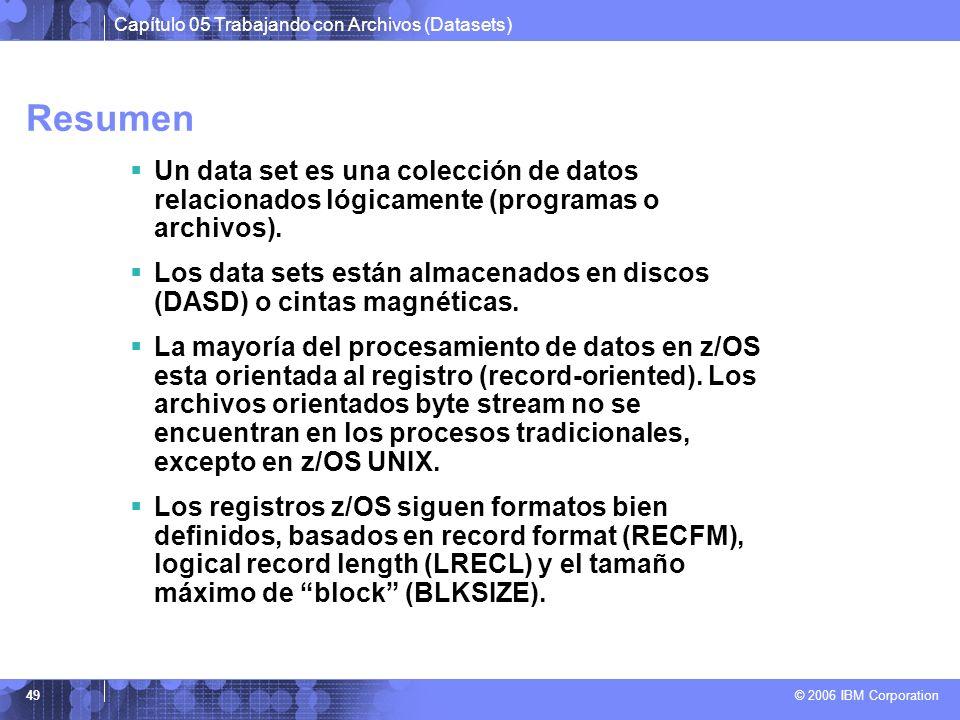 Resumen Un data set es una colección de datos relacionados lógicamente (programas o archivos).