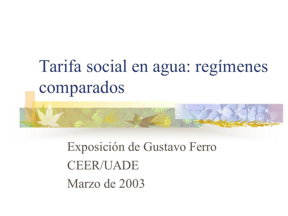 Tarifa social en agua: regímenes comparados
