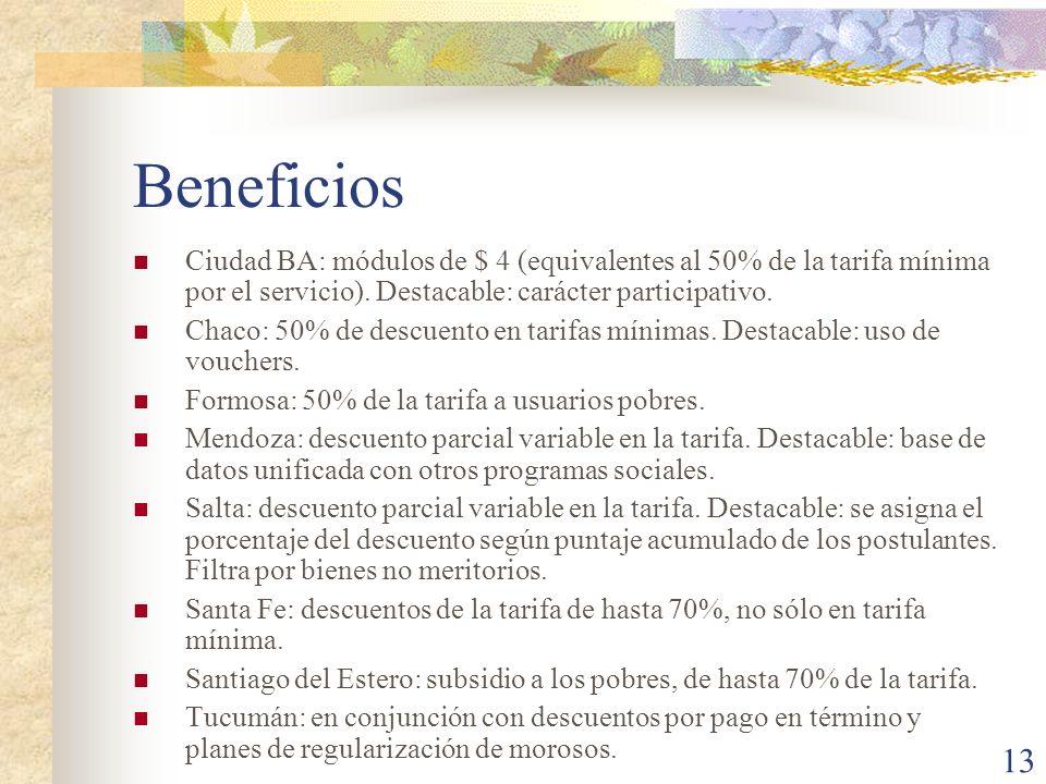 BeneficiosCiudad BA: módulos de $ 4 (equivalentes al 50% de la tarifa mínima por el servicio). Destacable: carácter participativo.