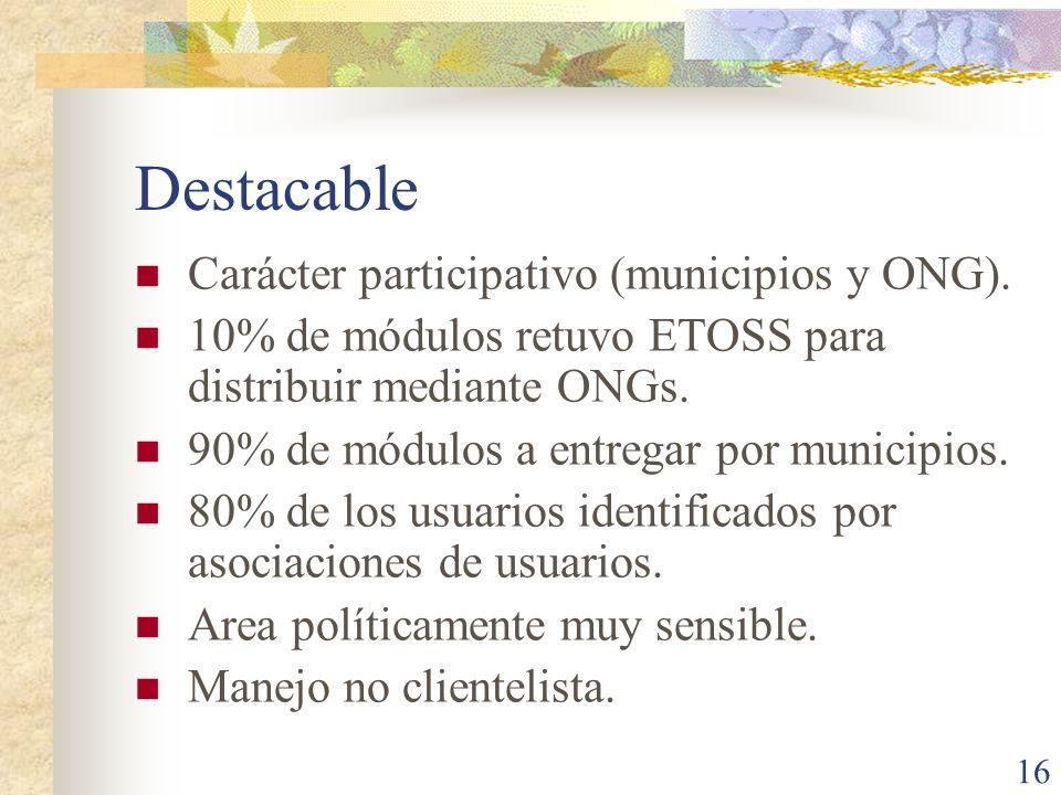 Destacable Carácter participativo (municipios y ONG).