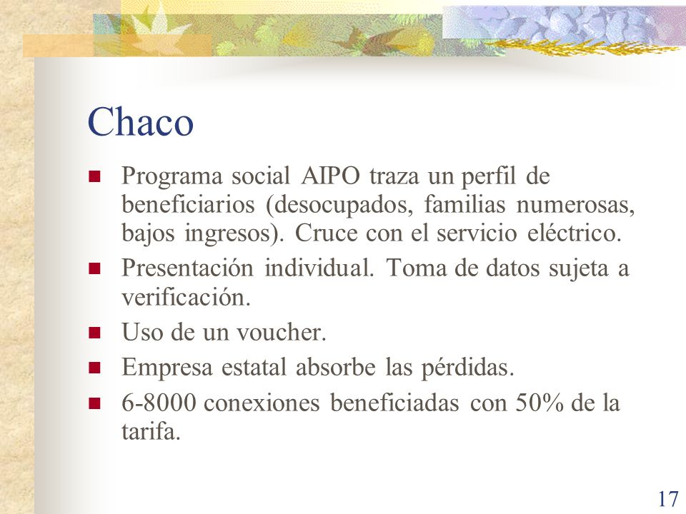 Chaco Programa social AIPO traza un perfil de beneficiarios (desocupados, familias numerosas, bajos ingresos). Cruce con el servicio eléctrico.