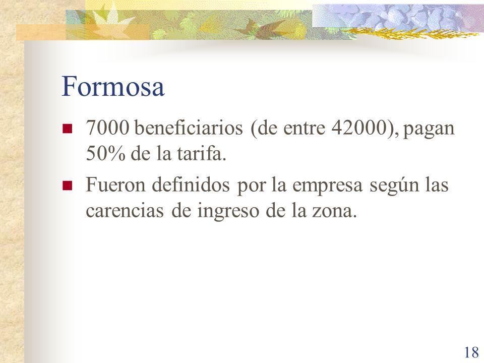 Formosa 7000 beneficiarios (de entre 42000), pagan 50% de la tarifa.