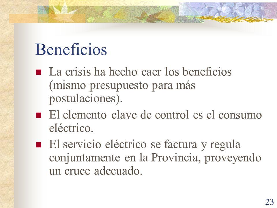 Beneficios La crisis ha hecho caer los beneficios (mismo presupuesto para más postulaciones). El elemento clave de control es el consumo eléctrico.