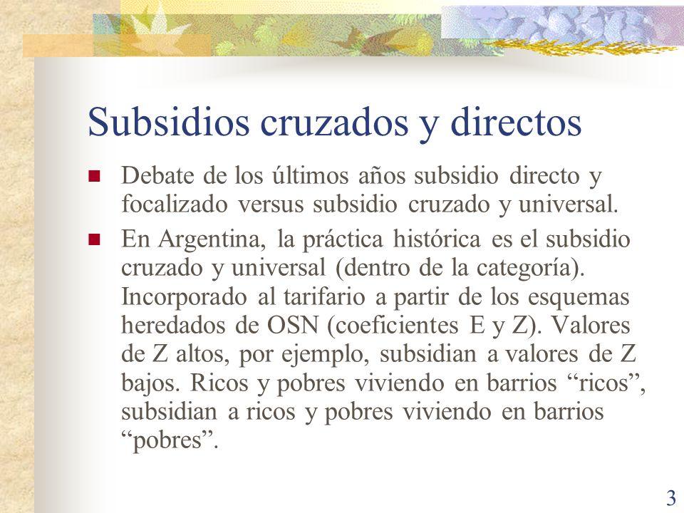 Subsidios cruzados y directos
