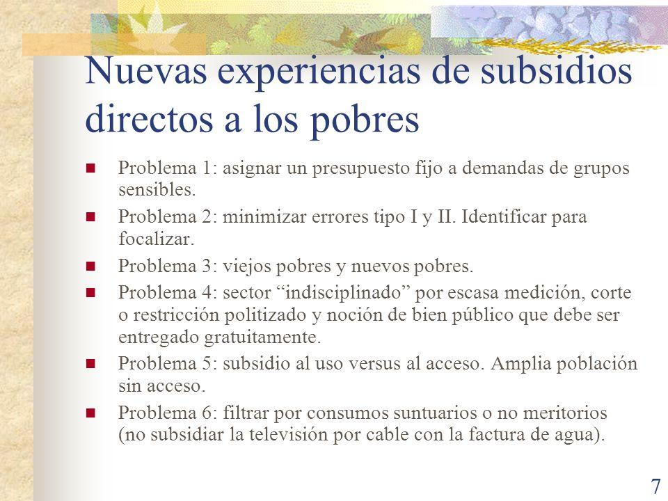 Nuevas experiencias de subsidios directos a los pobres