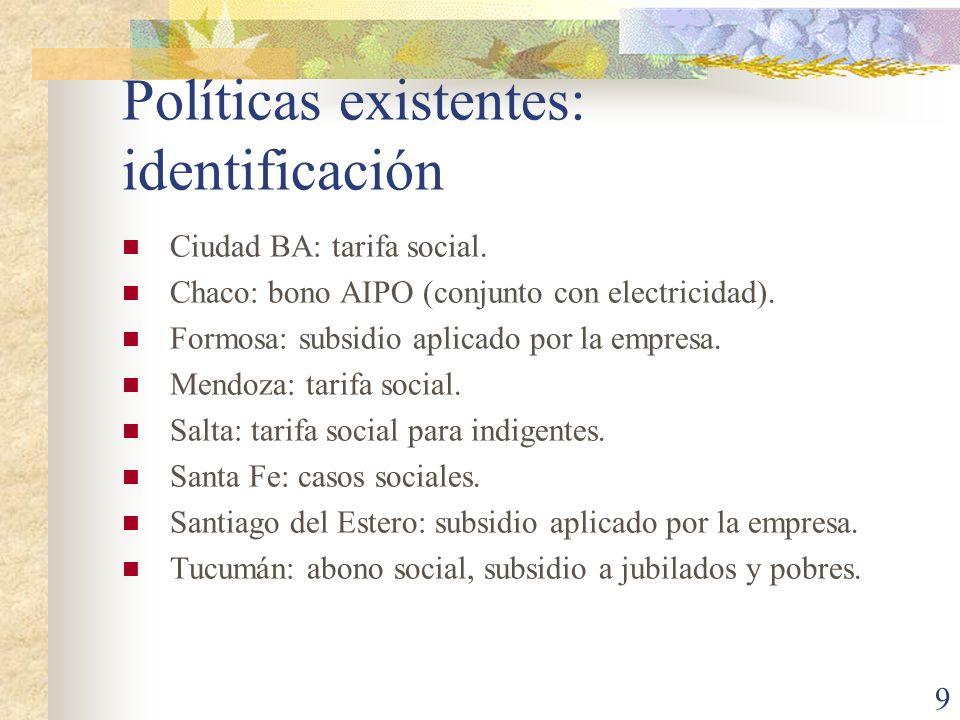 Políticas existentes: identificación