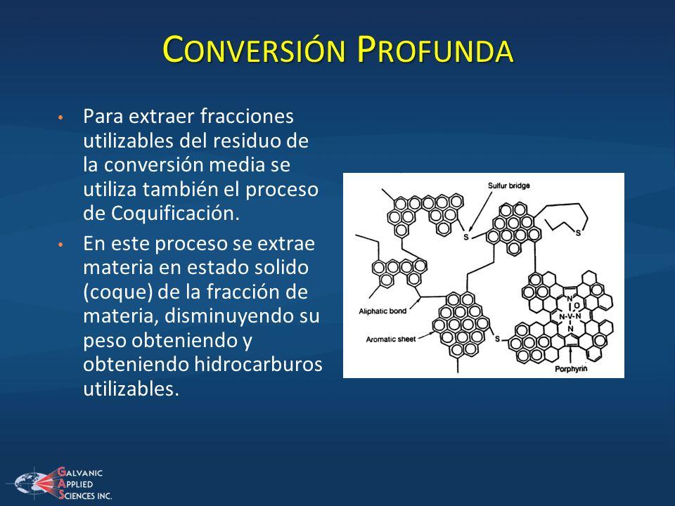 Conversión Profunda Para extraer fracciones utilizables del residuo de la conversión media se utiliza también el proceso de Coquificación.