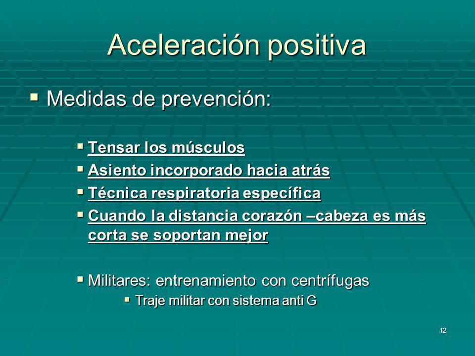 Aceleración positiva Medidas de prevención: Tensar los músculos