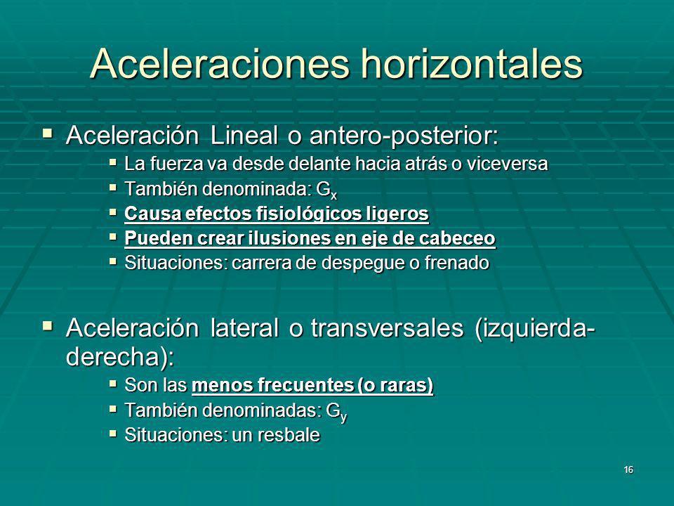 Aceleraciones horizontales