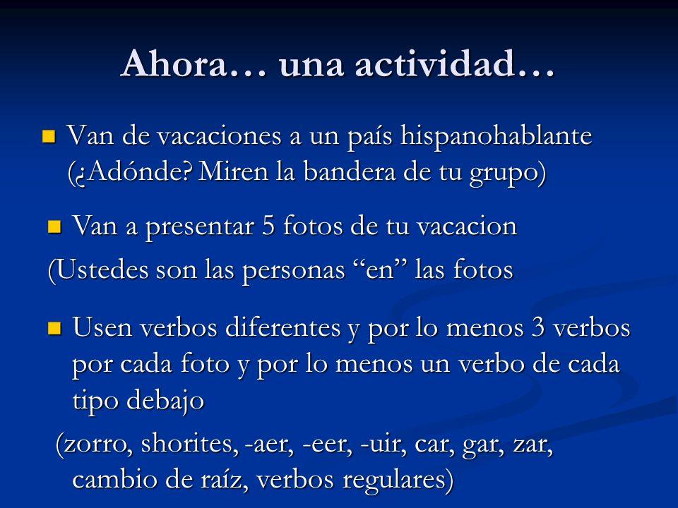 Ahora… una actividad… Van de vacaciones a un país hispanohablante (¿Adónde Miren la bandera de tu grupo)