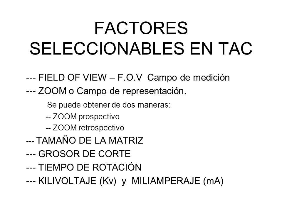 FACTORES SELECCIONABLES EN TAC