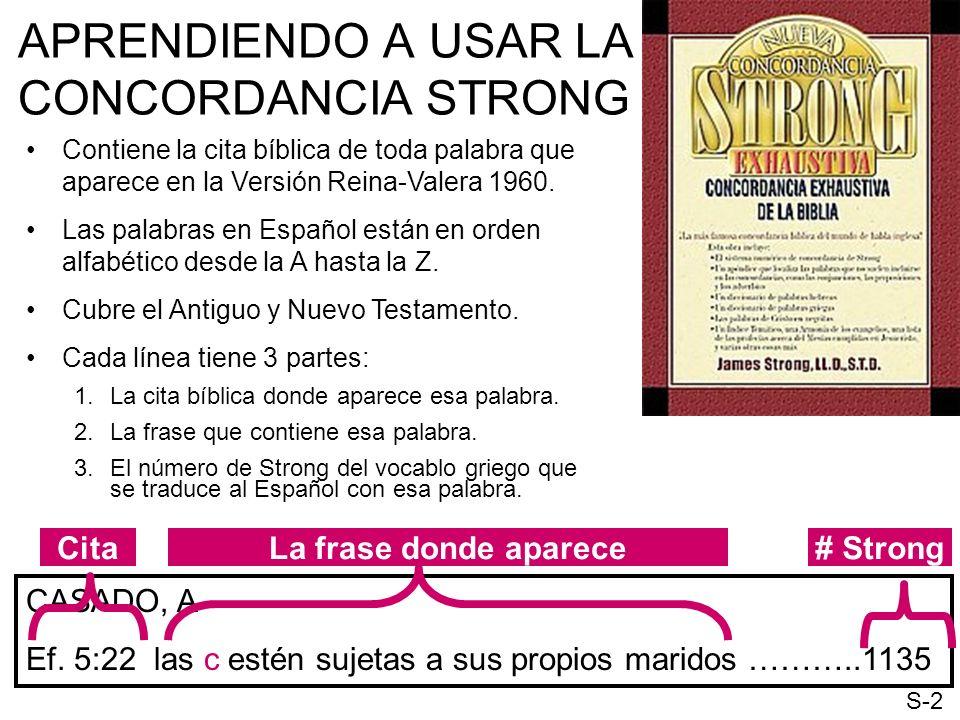 APRENDIENDO A USAR LA CONCORDANCIA STRONG