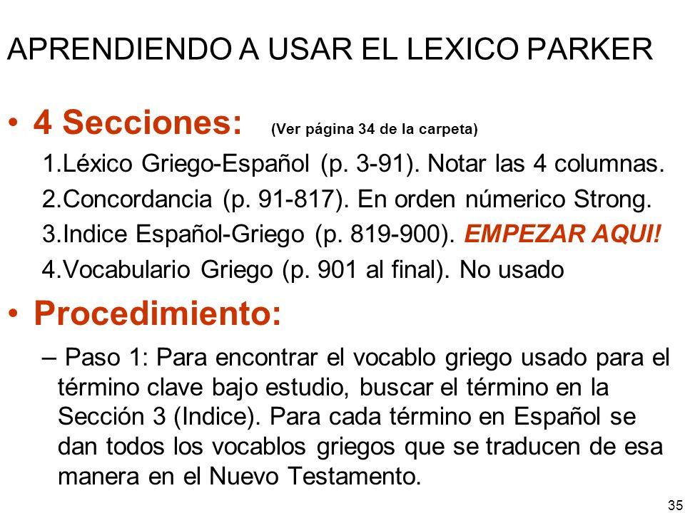 APRENDIENDO A USAR EL LEXICO PARKER
