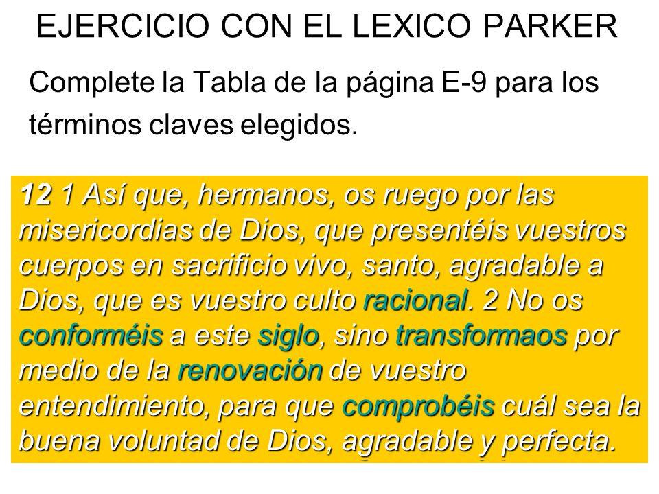 EJERCICIO CON EL LEXICO PARKER