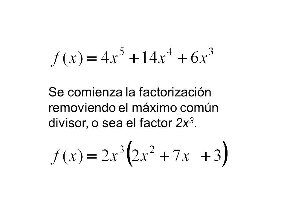 Se comienza la factorización removiendo el máximo común divisor, o sea el factor 2x3.