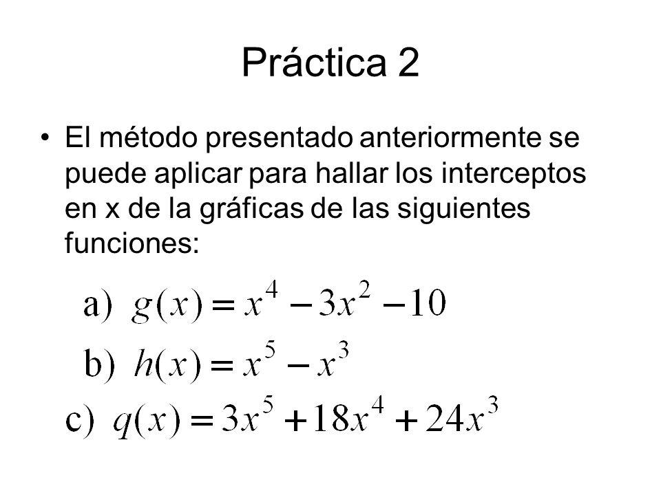 Práctica 2El método presentado anteriormente se puede aplicar para hallar los interceptos en x de la gráficas de las siguientes funciones: