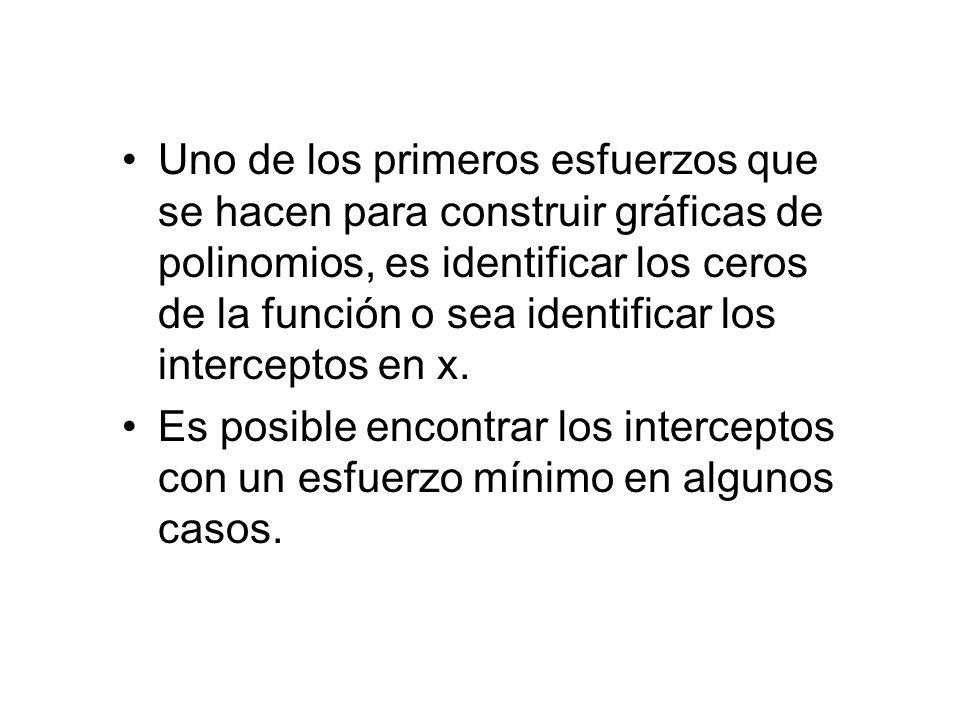 Uno de los primeros esfuerzos que se hacen para construir gráficas de polinomios, es identificar los ceros de la función o sea identificar los interceptos en x.