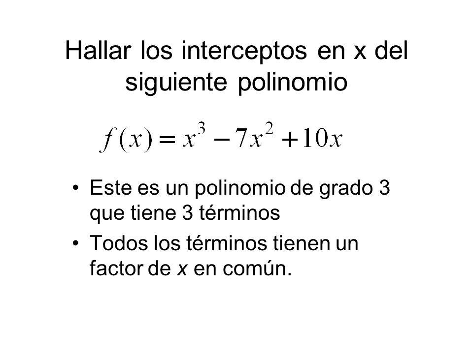 Hallar los interceptos en x del siguiente polinomio