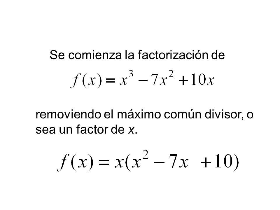 Se comienza la factorización de