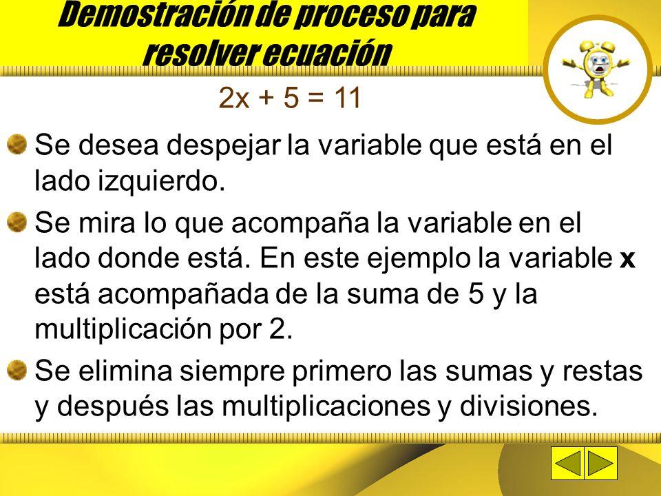 Demostración de proceso para resolver ecuación
