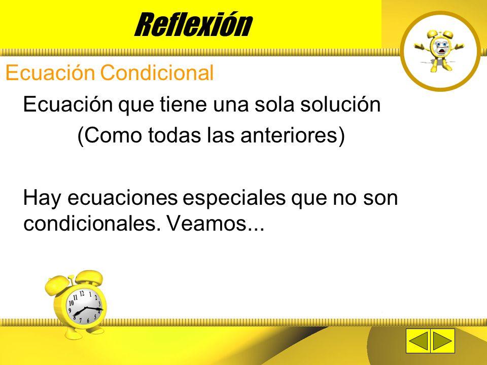 Reflexión Ecuación Condicional Ecuación que tiene una sola solución