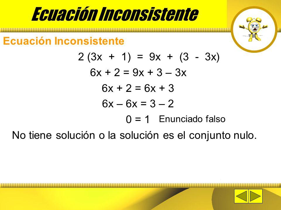 Ecuación Inconsistente