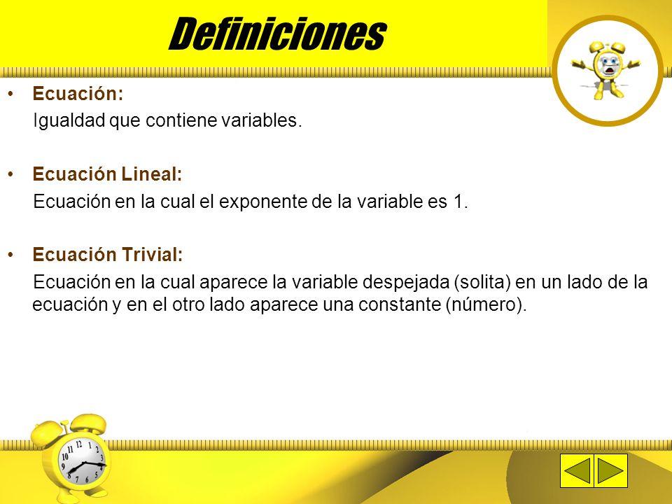 Definiciones Ecuación: Igualdad que contiene variables.