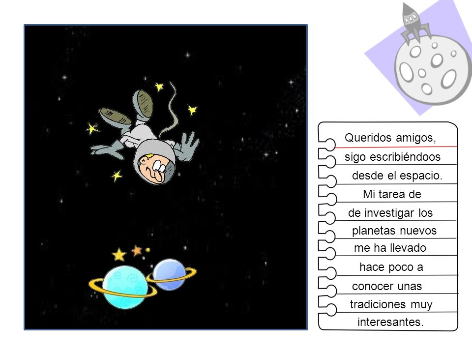 Queridos amigos, sigo escribiéndoos. desde el espacio. Mi tarea de. de investigar los. planetas nuevos.