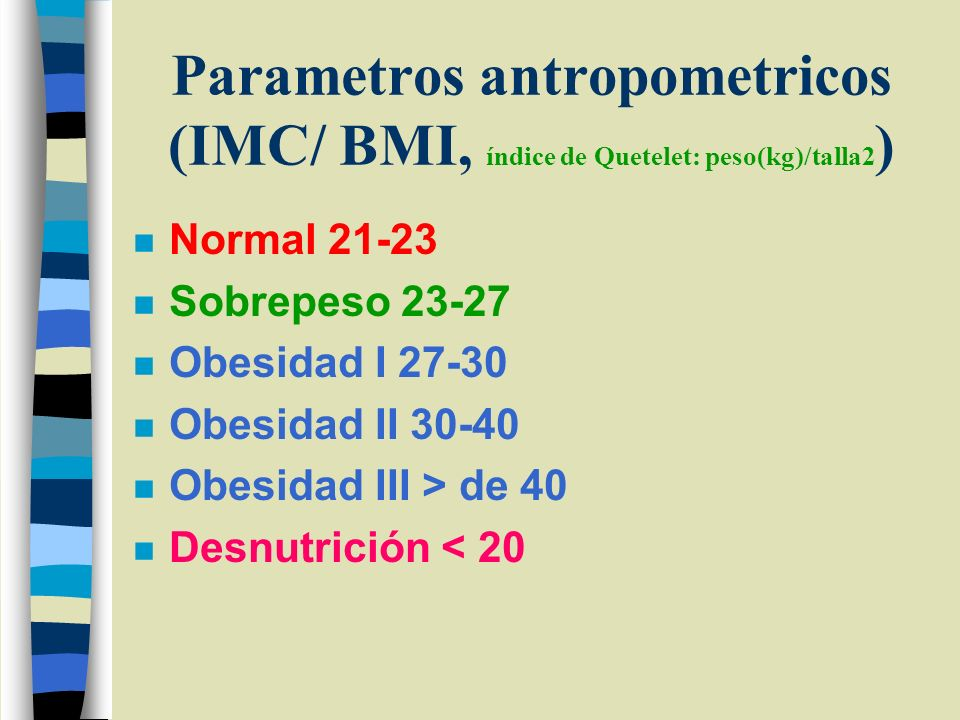Parametros antropometricos (IMC/ BMI, índice de Quetelet: peso(kg)/talla2)