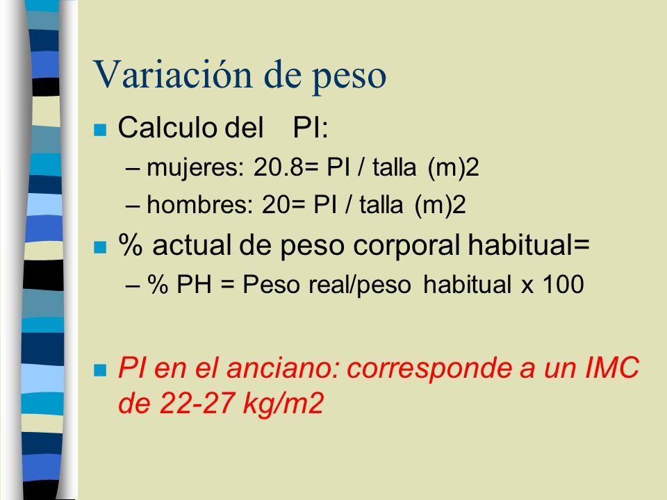 Variación de peso Calculo del PI: % actual de peso corporal habitual=