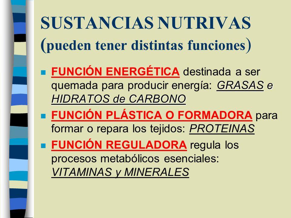 SUSTANCIAS NUTRIVAS (pueden tener distintas funciones)