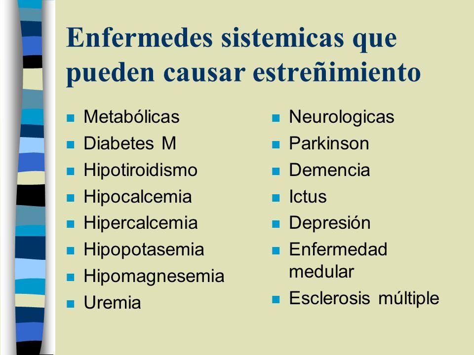 Enfermedes sistemicas que pueden causar estreñimiento
